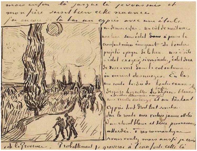 Imagen de la carta escrita por  Vincent van Gogh el 17 de junio de 1890.