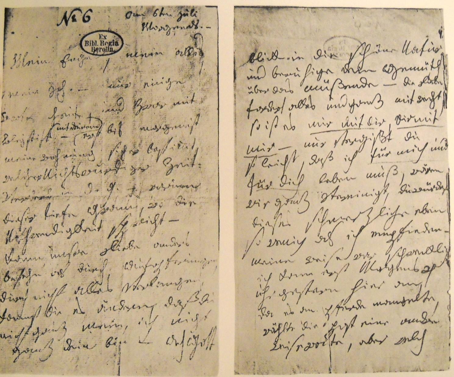 Las cartas fueron escritas en lápiz. Según un análisis, ciertas palabras han sido reescritas en un intento de hacerlas más legibles, por Antón Schindler, quien numeró las páginas.