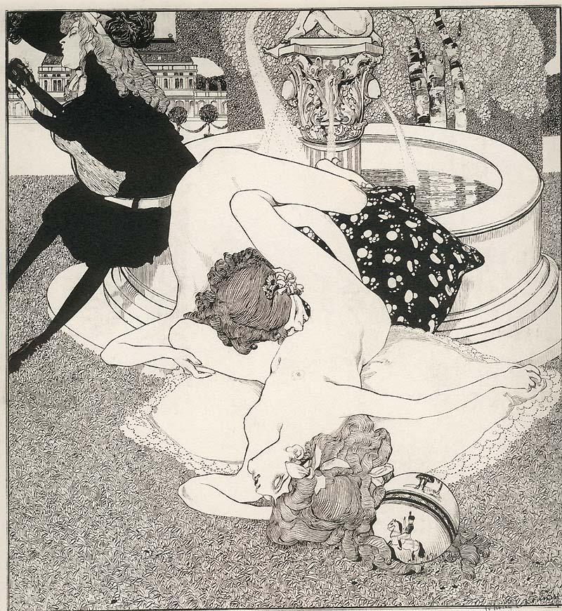 Dibujo erótico del movimiento decadente. Franz von Bayros (1866—1924)