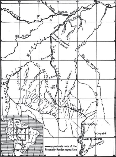 Mapa de la ruta aproximada de la expedición Roosevelt—Rondón.