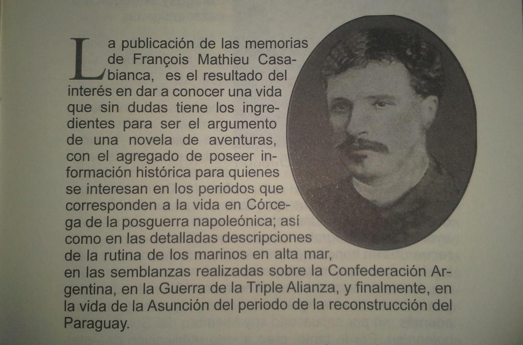 Página 11 (parte superior) del libro, en la que se puede apreciar un retrato de François Casabianca.