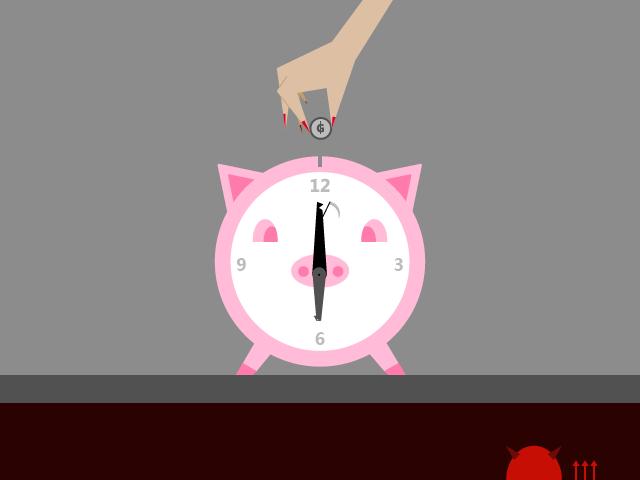 Tiempo de ahorra, ilustración de Pedro Cuevas Aquino para el cuento El fondo para el viaje en el tiempo.