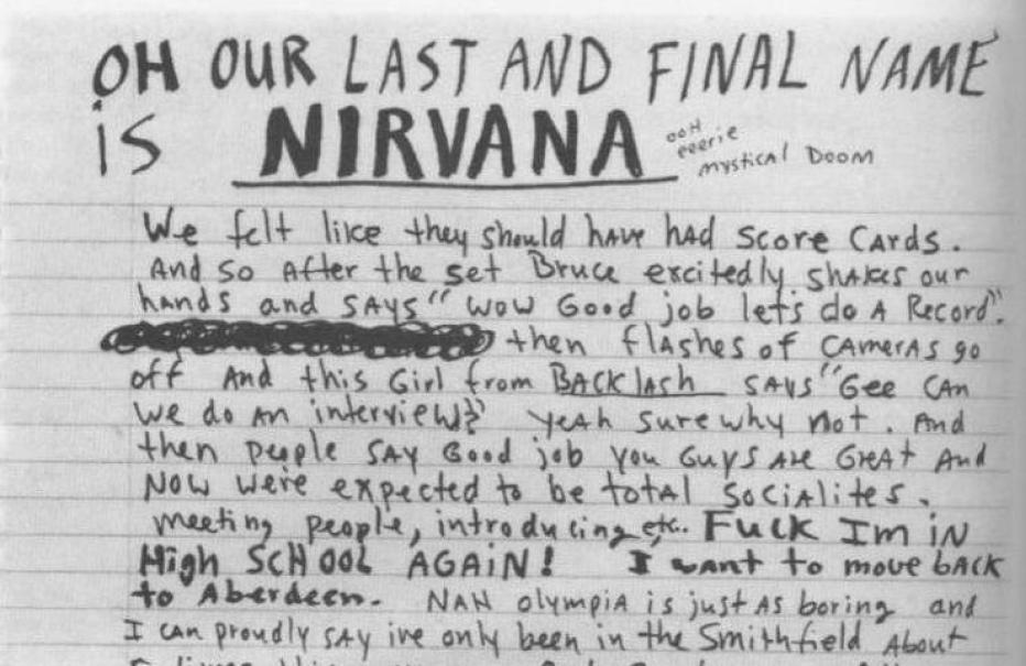 Imagen de una página de los diarios de Kurt Cobain.