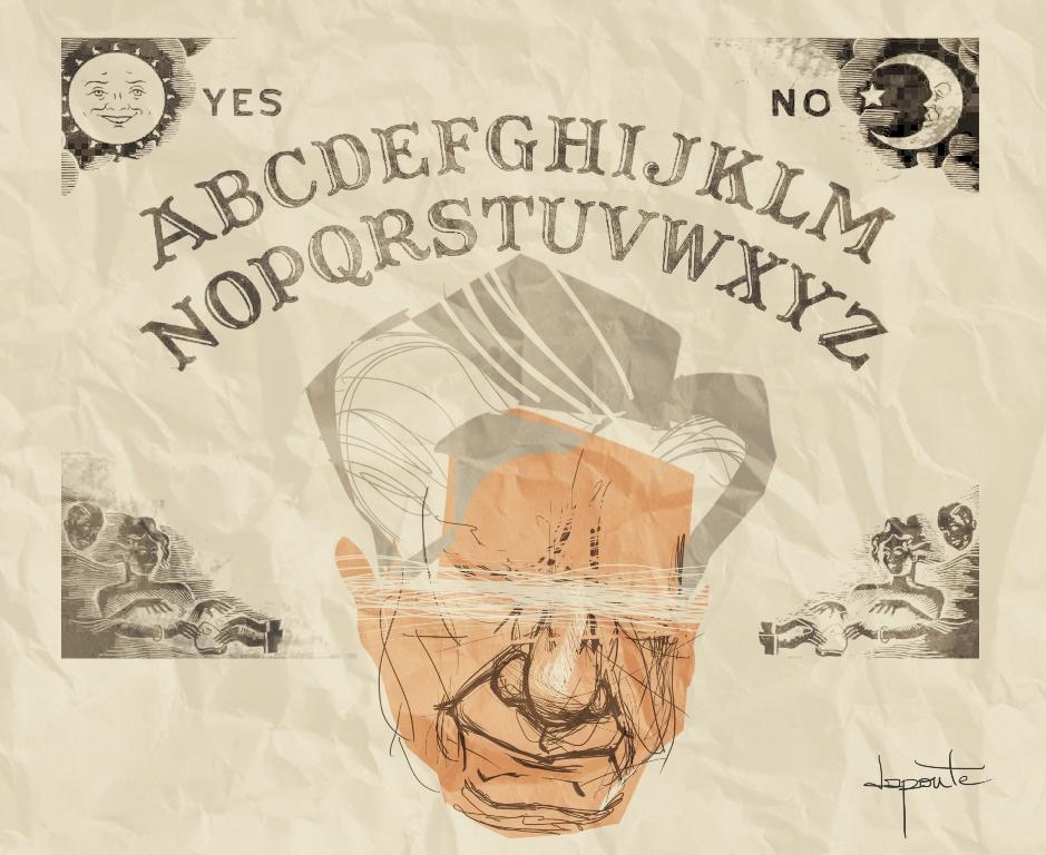 Augusto poseído, ilustración de Charles Da Ponte para el cuento El Refutador.