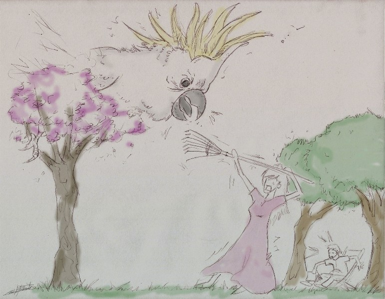 Darling con un rastrillo como lanza, ilustración de César Barreto para ¡Yes, darling!