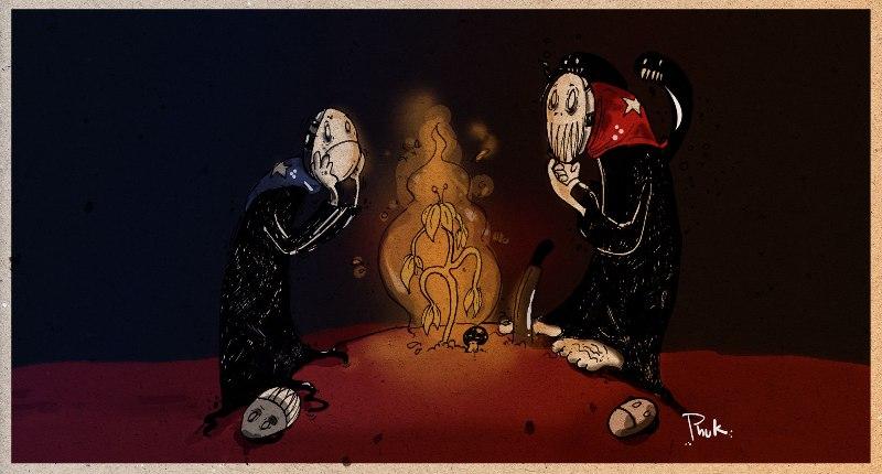 Azules y colorados, ilustración de Germán Álvarez.