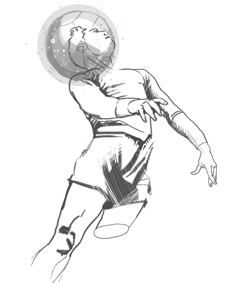Arsenio Erico según Charles Da Ponte. Dibujo de Pelota jára, cuentos de fútbol.